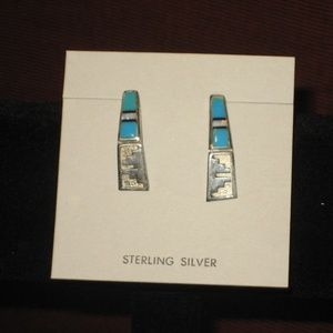 Sterling Turquoise & Opal Silver earrings